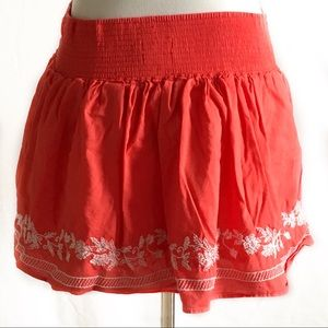 Aeropostale coral embroidered skirt small